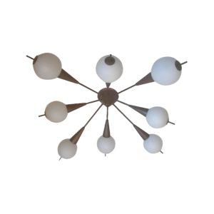 Plafonnier Design Italien Type Sputnik Laiton & Verre, 1950s