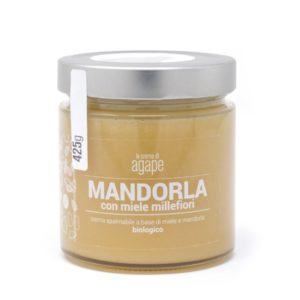 Crema spalmabile mandorla e millefiori miele biologico agape agricoltura italia