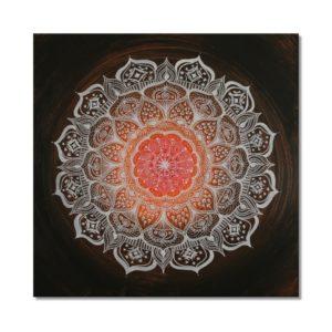 Wandbild Energiebild Mandala Gabe weiß schwarz_Frontalbild