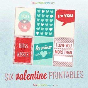 Six printable valentines