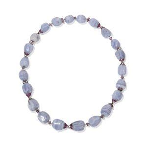 Chalcedony & Pink Sapphire Necklace Bracelet Top
