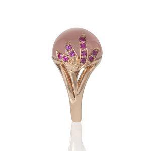 Rose Quartz & Pink Sapphires Aqua Ring Side