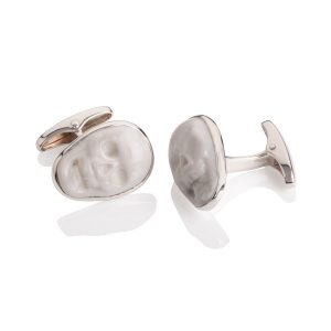 Sterling Silver and White Agate Cufflinks