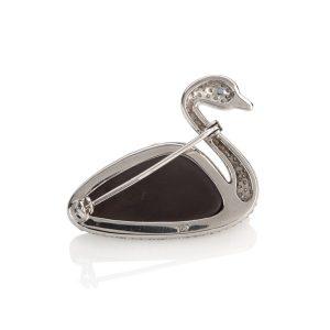 Swan Opal & Diamond Brooch Reverse