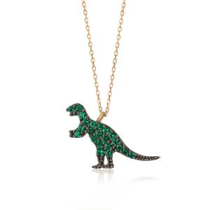 tsavorite garnet green dinosaur pendant