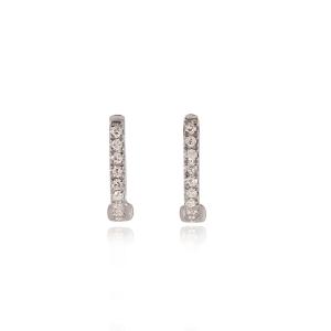 White gold diamond huggie earrings