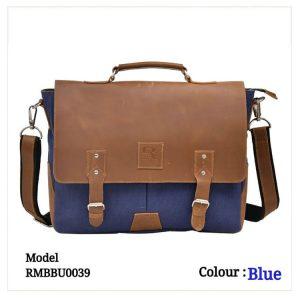 Leather Office Laptop Messenger Bag 0039 Blue & Brown