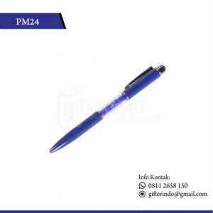 PM24 Pulpen Promosi Touchscreen Kristal Biru