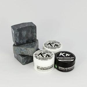Karbonoir brennende Leidenschaft - Paket mit 3x schwarzer Seife, 2x Deo ohne Aluminium und 1x Aktivkohle für weiße Zähne