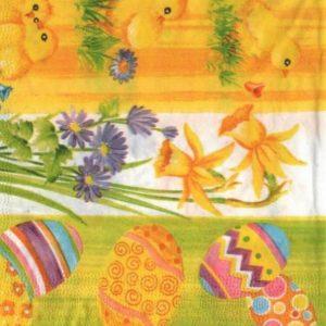 Serviette papier Pâques et poussins 33 cm x 33 cm 3 plis