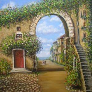 итальянский дворик с цветами