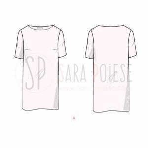 P1008-A-variante abito - cartamodello PDF minidress curvy - Sara Poiese