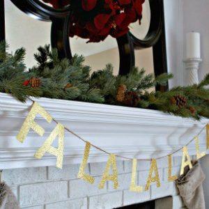 FaLaLaLaLa Gold Glitter Christmas Garland