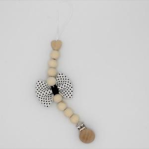 Handgemaakt speenkoord dots leerlook strikje
