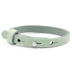 leren SOS armband mintgroen