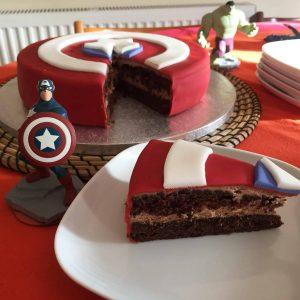 Chocolate brownie Avenger birthday cake