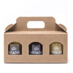 Confezione regalo 3 mieli 200g azienda agricola agape miele biologico