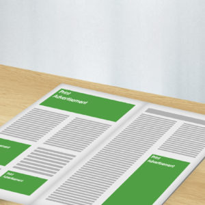 Green and white graphic of print advertisement