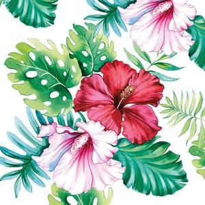 Ambiente servetten Hibiscus Floral White