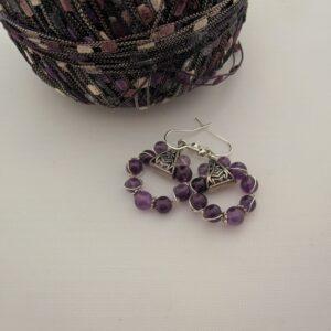 Purple Amethyst Earrings, Celtic Style