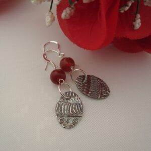 Handcrafted Silver Earrings with Red Quartz by Indigo Berry