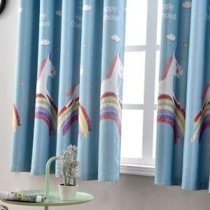Regenboog&Eenhoorn gordijnen blauw
