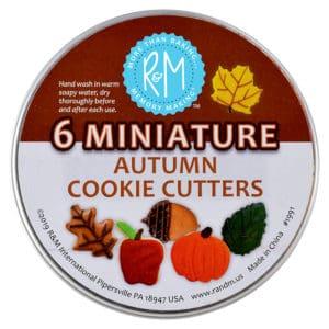 mini autumn leaf cookie cutters in a can