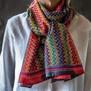 Kantha scarf - bright zig zag pattern
