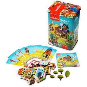 """Μαγνητικό παζλ """"Χτίζω σπίτια """"από την εταιρεία Cubika. Με ένα μοναδικό σχεδιασμό το παιχνίδι αυτό προσφέρει πολλές δυνατότητες στο παιδί ώστε να οργανώσει τα κομμάτια"""