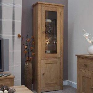 Burniston Oak 1 Door Glass Bookcase