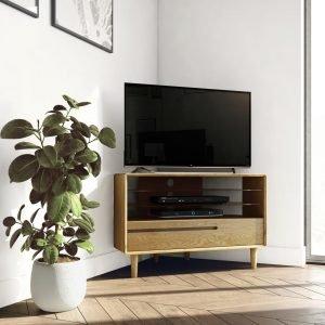 Scandic Oak Corner TV Stand