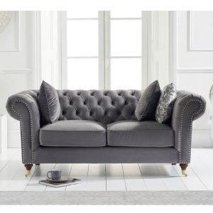 Camara Chesterfield Grey Velvet 2 Seater Sofa