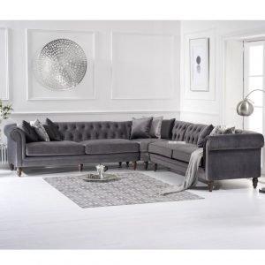 Lauren Grey Velvet 2 + 2 Corner Sofa