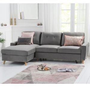 Carlotta Grey Velvet Left Hand Facing Chaise Sofa Bed
