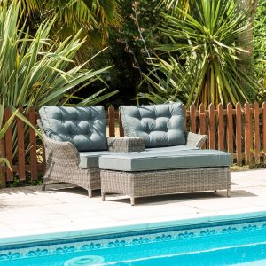 Mayberry 2 Seat Garden Love Chairs with Ottoman