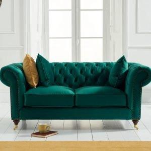 Camara Chesterfield Green Velvet 2 Seater Sofa