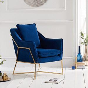 Larna Blue Velvet Accent Chair