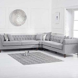 Lauren Grey Linen 2+2 Corner Sofa