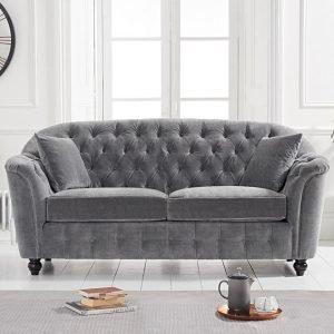 Carrie Grey Velvet 2 Seater Sofa