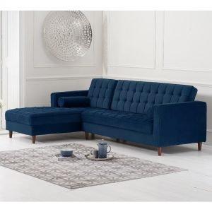 Anneliese Blue Velvet Left Facing Chaise Sofa