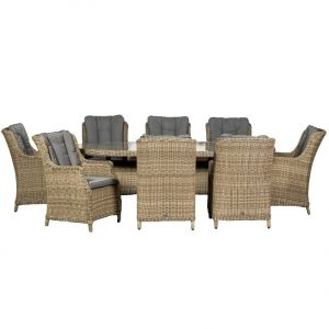 Royalcraft Wentworth 8 Seat Oval High back Comfort Dining Set