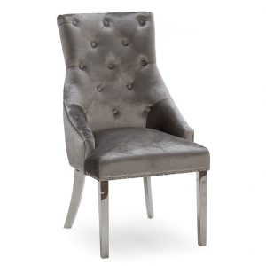Belvedere Knockerback Dining Chair - Pewter