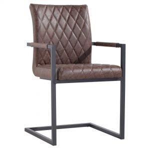 Diamond Stitch Brown Carver Dining Chair
