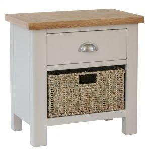 Laverton Oak Small Wicker Basket Lamp Table