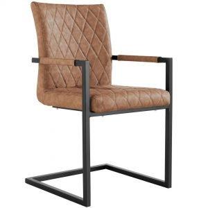 Diamond Stitch Tan Carver Dining Chair