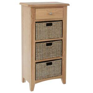 Nunwick Oak 1 Drawer 3 Wicker Basket Unit