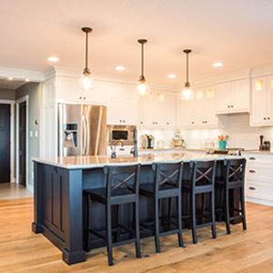 kitchen with black island
