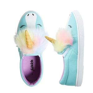unicorn toddler slippers in teal