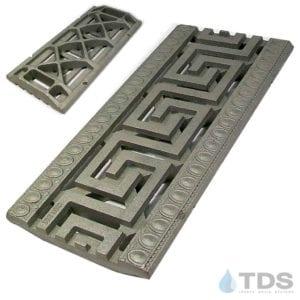 IA-9x20in-CI-Greek-Key-Grate-TDSdrains raw Iron Age cast iron grate