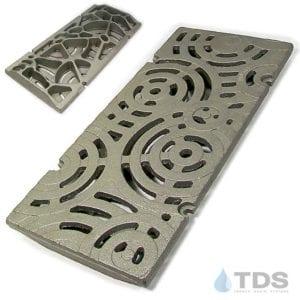 IA-9x20in-CI-Oblio-Grate-TDSdrains Iron Age raw cast iron deco grate